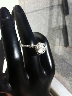 White Topaz Wire-Wrapped Ring