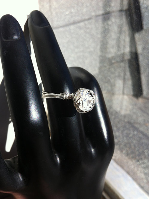 Wire-Wrapped White Topaz Ring