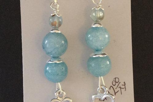 lovely Blue Jade and Sterling Silver Earrings