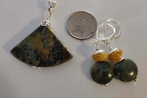Succor Creek Jasper Pendant and Earrings