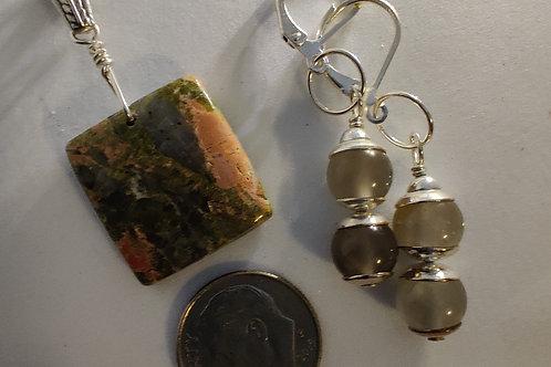 Unakite Pendant and matching Labradorite Earrings