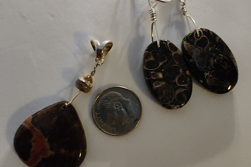 Brown Jasper Pendant and Turtella Earrings