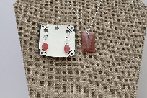 Stunning Red Agate Pendant Set