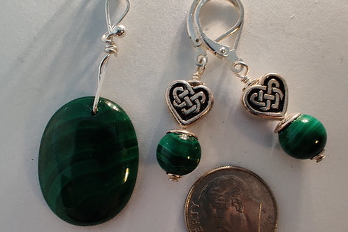 Malachite Pendant and Earing set