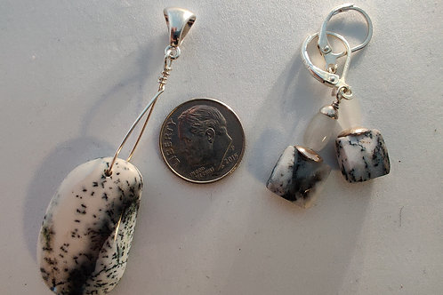 Dendrite Agate Pendant and Earrings