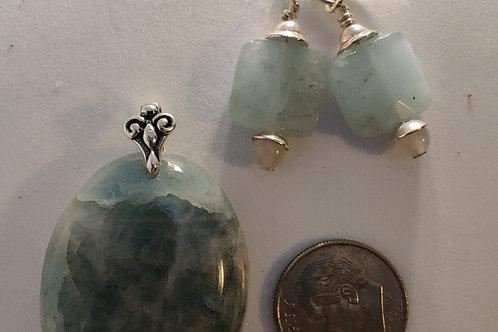 Aquamarine Pendant and Amazonite Earing set