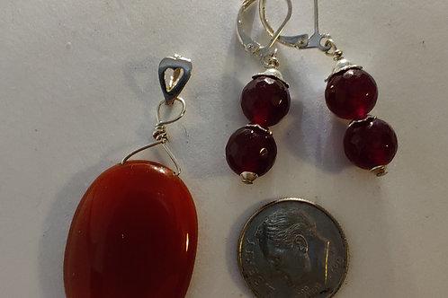 Carnelian Pendant and Ear rings