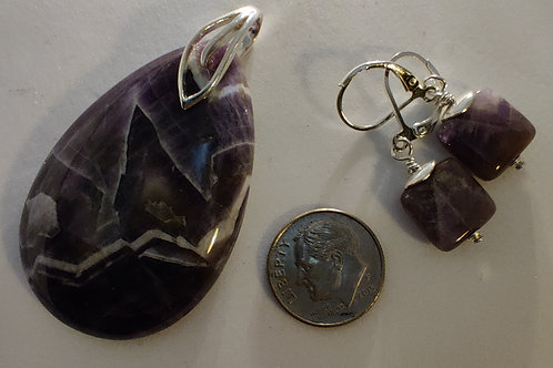 Amethyst Pendant and Ear rings