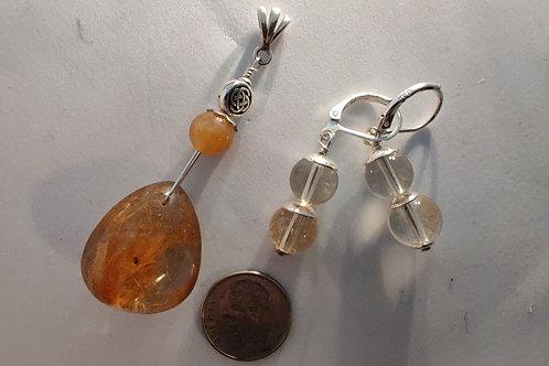 Rutilated Quartz Pendant and Citrine Earring set
