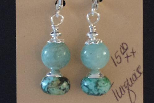 African Turquoise and Adventure Earrings