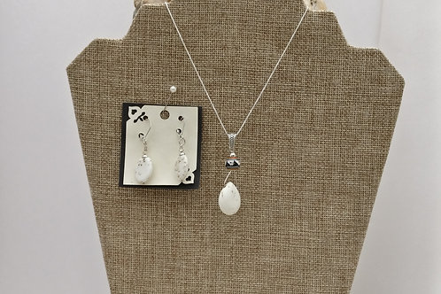 Lovely White Turquoise and Hand Painted Peruvian bead pendant and earings