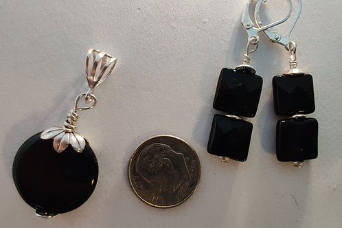Black onyx Pendant and Earring Set