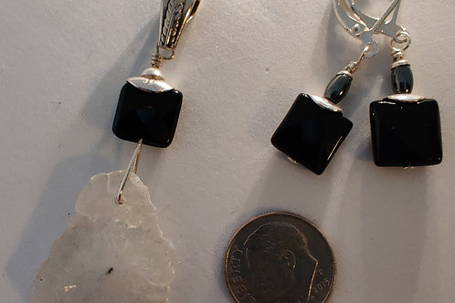 Solar Quartz and Onyx Pendant and earring set