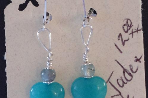 Sweet Teal Jade Heart Earrings