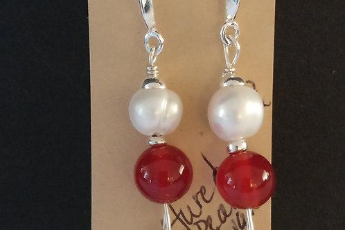 Cultured Pearl and Carnelian Earrings