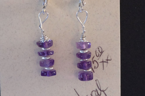 Natural Amethyst and Sterling Earrings