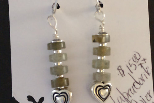 Stunning Labradorite and Heart Earrings