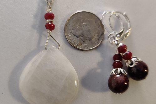 Rainbow Moonstone and Garnet Pendant and Tourmaline and Garnet Ear rings
