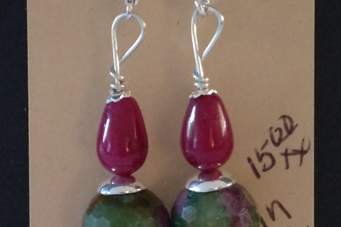 Spectacular Ruby In Fuschite and Jade Earrings