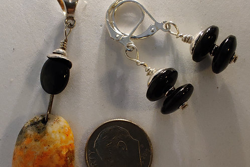 Onyx and Bumble Bee Jasper Pendant and Earring set