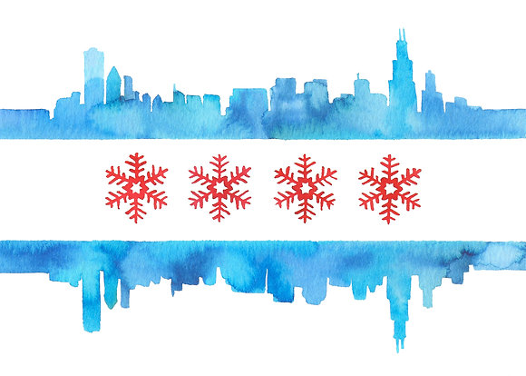 Snowflake Chicago Flag Card