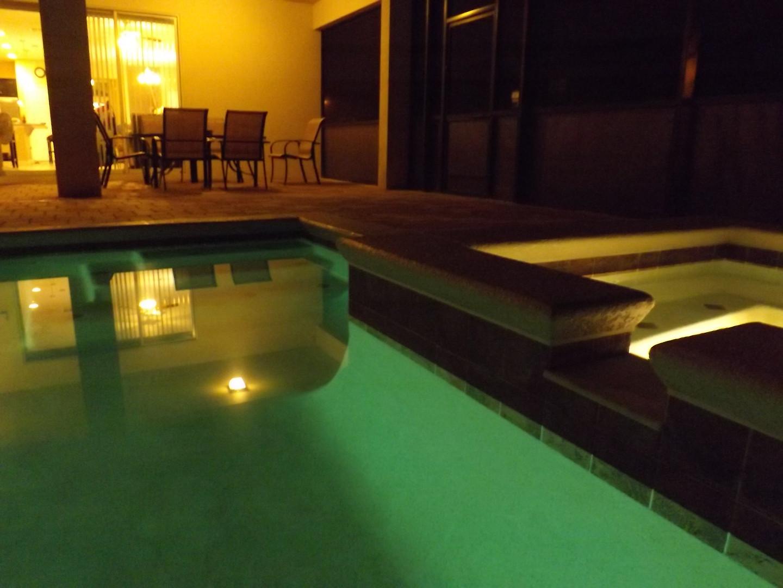 Pool Area + Hot Spa at night