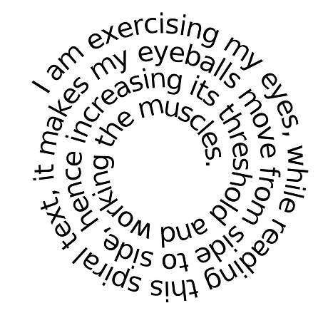 healthy reading exercise test with spiral text