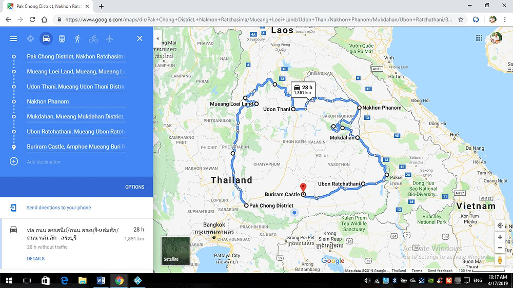 Map for touring Thailand on motorbikes.