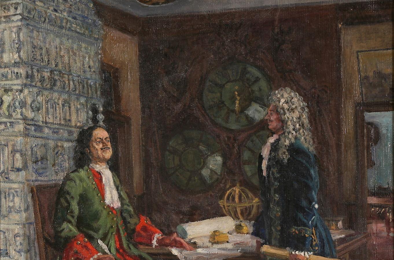 Петр I и Меньшиков в Летнем дворце
