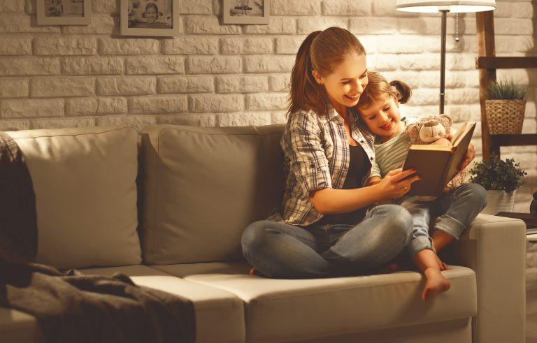 Mother reads to child
