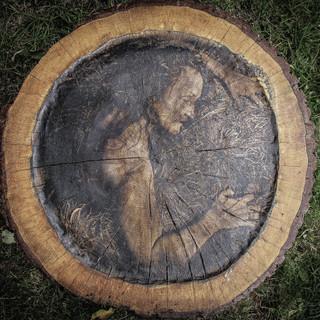 A Self Portrait  on oak  - 1 © Gillian Allard 2013 Weird & Wonderful Wood Festival  Photo bonded to an oak round  80cm x 80cm