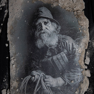 Ned 'Nitty' Ellis on concrete © Gillian Allard 2021 Original image taken in 1905. Digitised and bonded it to a concrete surface.  From a pilot project with poet Dean Parkin.