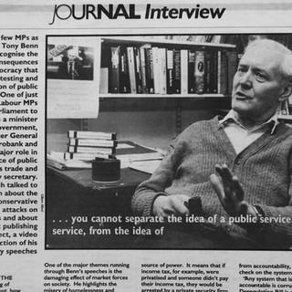 Tony Benn - UNISON magazine article 1992