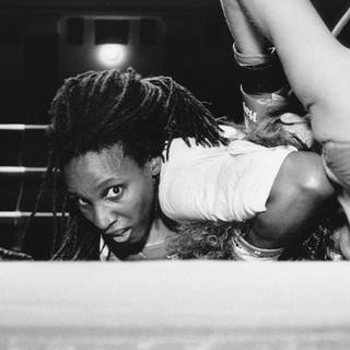 Forester Joseph holds down Dawn Davis - Thai Boxing, York Hall, Bethnal Green. 1993