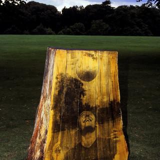 Sunday Morning Football © Gillian Allard 2002  Commission: Sculpture In The Park walking trail - Christchurch Park, Ipswich, Suffolk. Liquid photo emulsion on oak. 4.5ft x 3ft