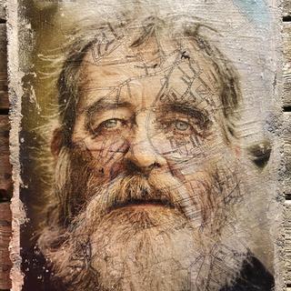 Photographic portrait bonded to concrete 2021 © Gillian Allard DYCP - Arts Council Supported