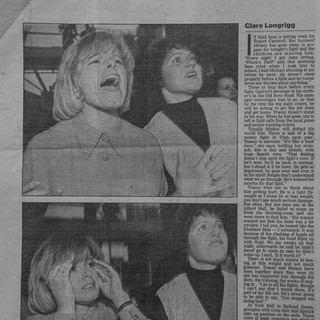 Tracey Cantwell supporting her husband Mickey - York Hall, Bethnal Green - Boxers Girlfriend's article 1993