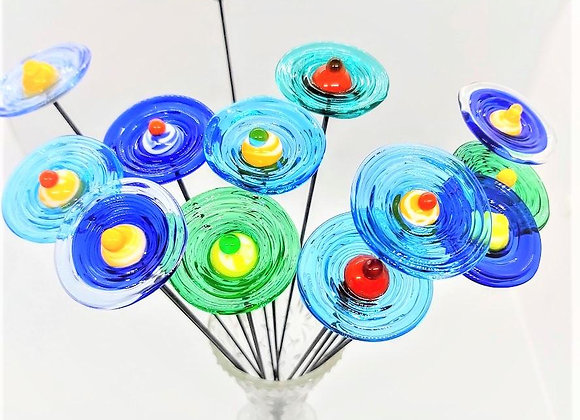 "Glasblumenstrauß ""Blau-grüne Wiese"" 10 Stück"