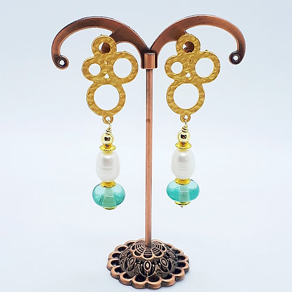 """""""Golden Rings"""" mit Süßwasserperlen und antikem Glas"""