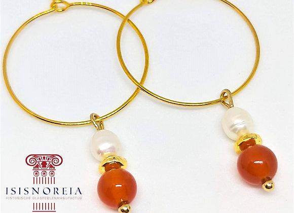 """""""Cornelia""""  Römische Ohrringe mit Perlen und Karneol"""