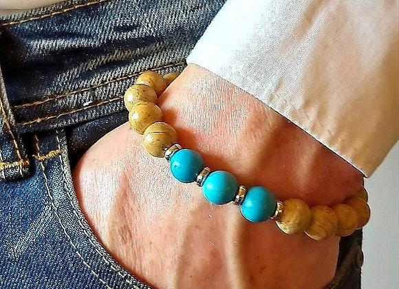 Männer Armband  Jaspis-Türkis