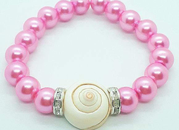 """Pink Snail"" Perlenarmband mit Meeresschnecke"