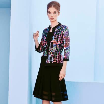 Joseph Ribkoff jacket, skirt, and camisole