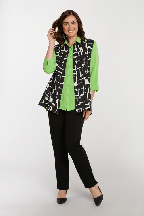 Fridaze Crackle Print Vest and Lime Blouse