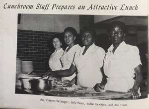 Photograph: 4 ladies working in school lunchroom