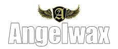 Angelwax logo writenn in white with gold outline and a blackshield with a gold A and gold wings holding up the shield