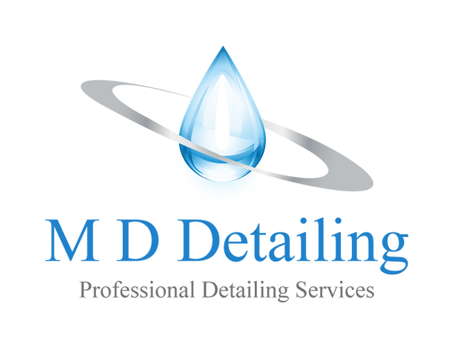 A blue and grey water droplet logo for MD Detailing.co.uk