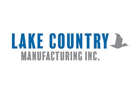 Lake Country Logo with blue and grey writing and a grey bird