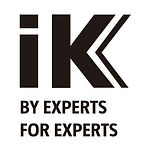 black and white IK Sprayers logo saying IK, by experts, for experts