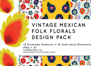 Vintage Polish Mexican Folk Floral Pattern -  My collection at Creative Market